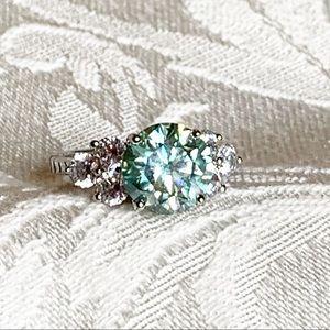 3.30 Carat VVS1 Sky Blue Moissanite Ring, Size 7